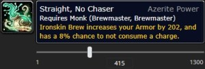 The tooltip of the new Brewmaster azerite trait Straight, No Chaser at item level 415.