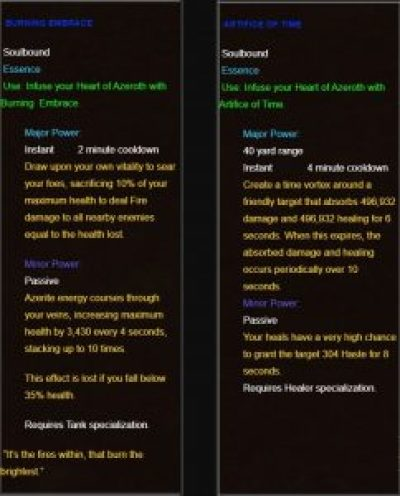 An example Healer and Tank trait for the new Heart of Azeroth
