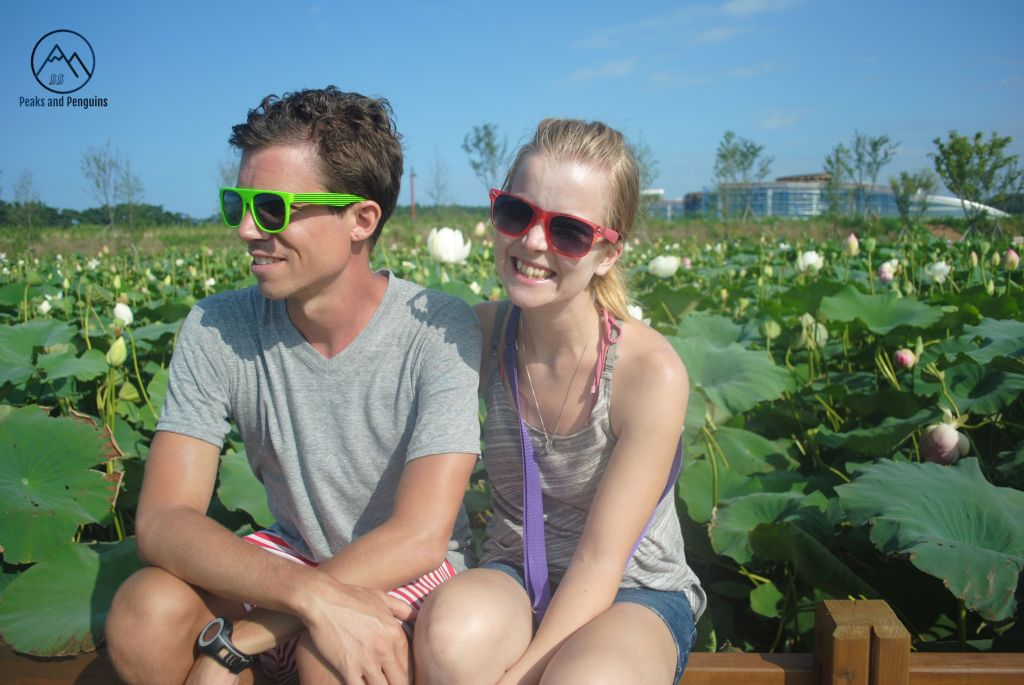 An image of the author and her husband sitting in front of a a field of lotuses. They are wearing sunglasses and smiling. The author faces the camera, while her husband smiles at something unseen off to the left of the frame. The lotuses are in full bloom behind them, with large emerald leaves and pastel flower bulbs.