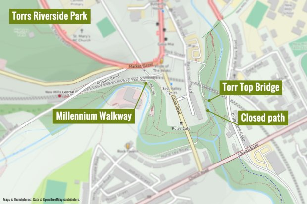 A map of the Torrs Riverside Park showing Torr Top Bridge near the closed path below Kinder View and the Millennium Walkway nearby