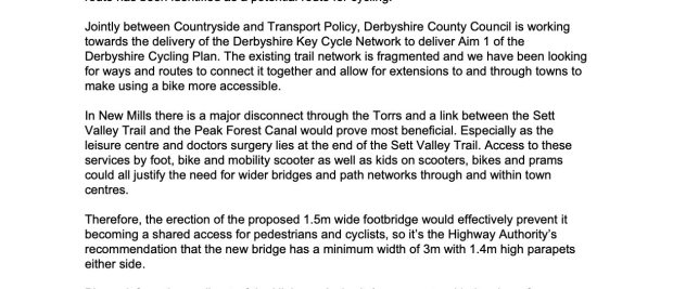 Derbyshire County Council's comments on the planning application (HPK/2018/0463) suggesting the bridge be built to a 3 metre width with higher sides to allow for future cycling use