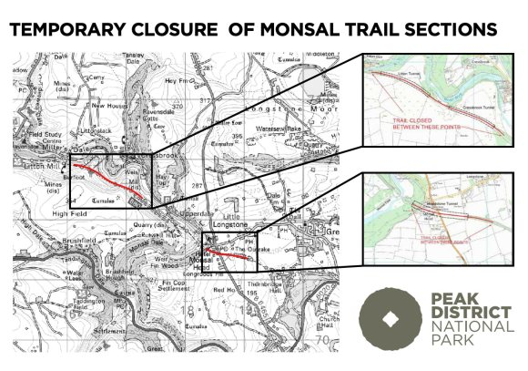 Map showing closures of Monsal Trail at Litton, Cressbrook and Headstone Tunnels.