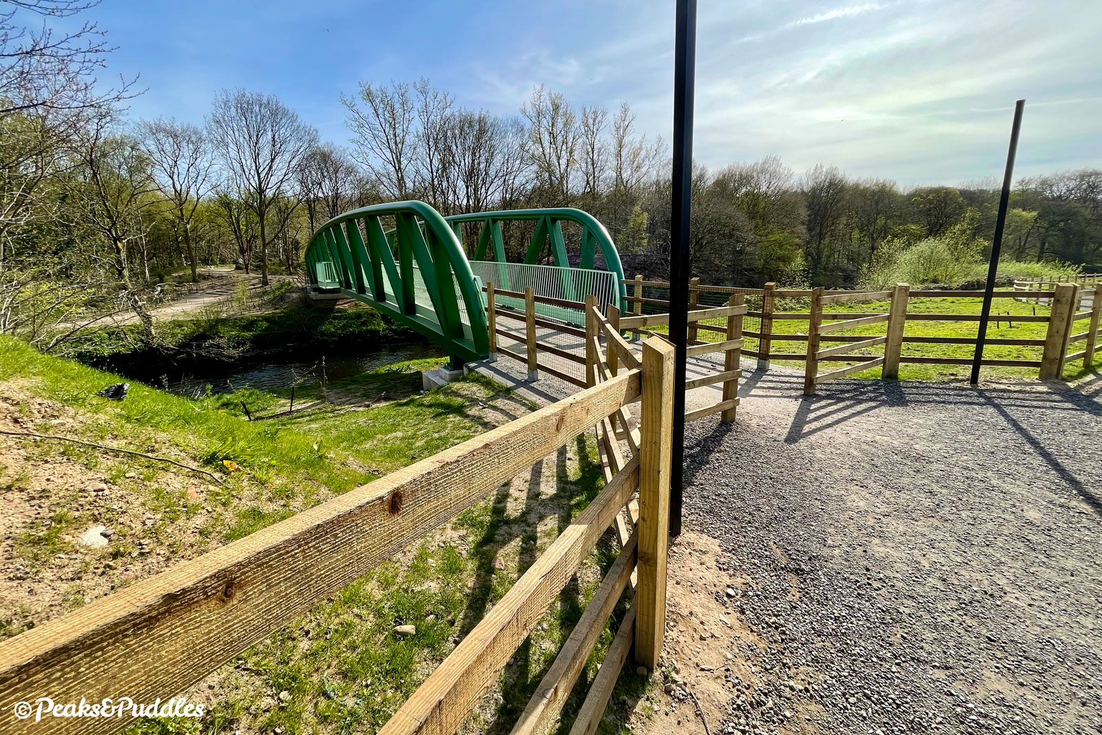 Woodbank Bridge officially opened in late 2020, linking Bredbury and Offerton over the River Goyt via Woodbank Park.