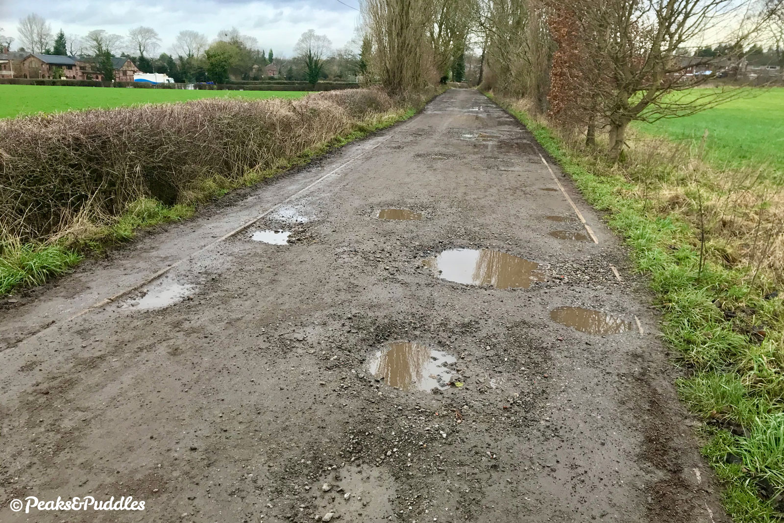 In winter, the potholes are suitably filled with water - at least making them easier to spot.