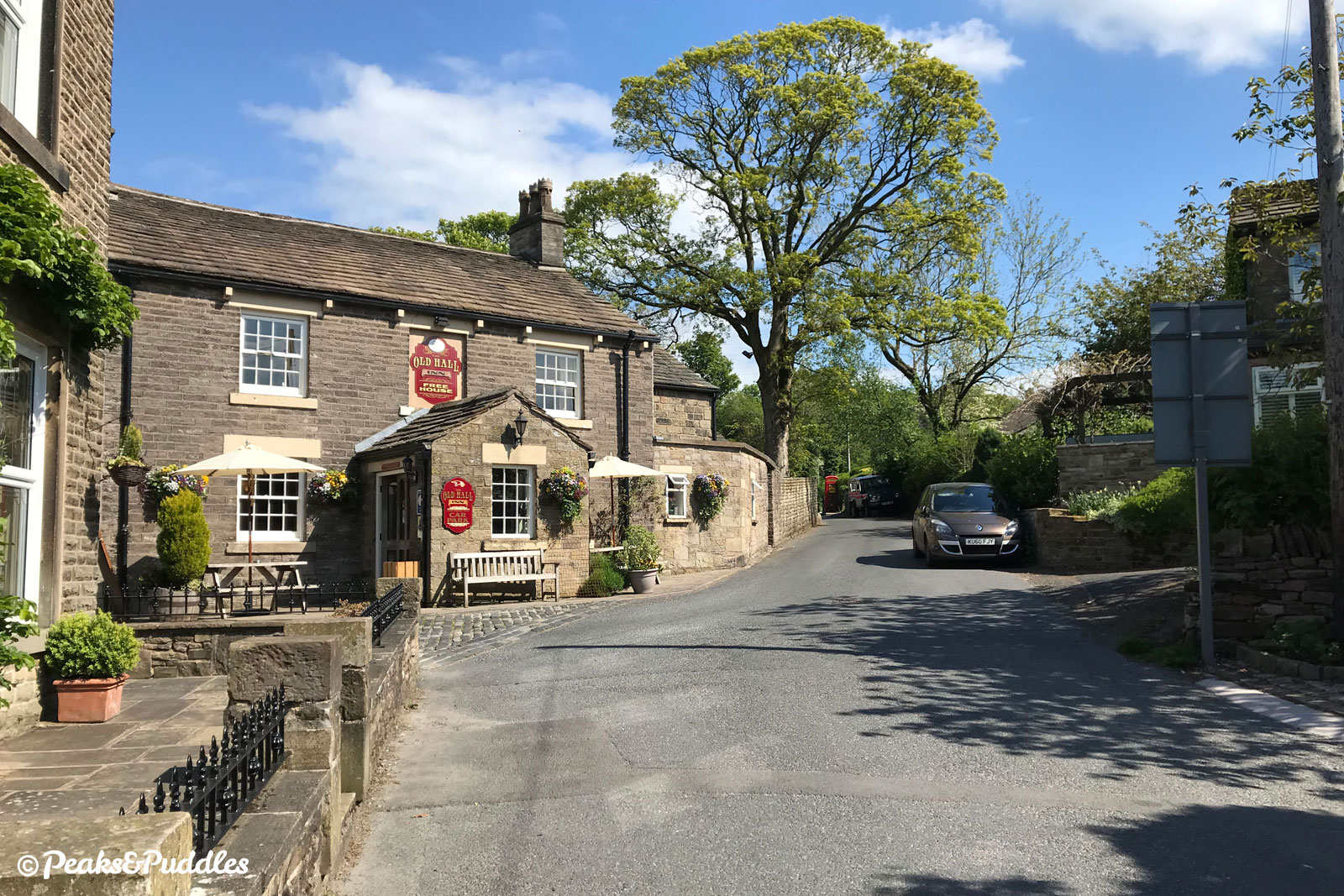 The Old Hall Inn on the climb up through Whitehough, always a popular spot at weekends.