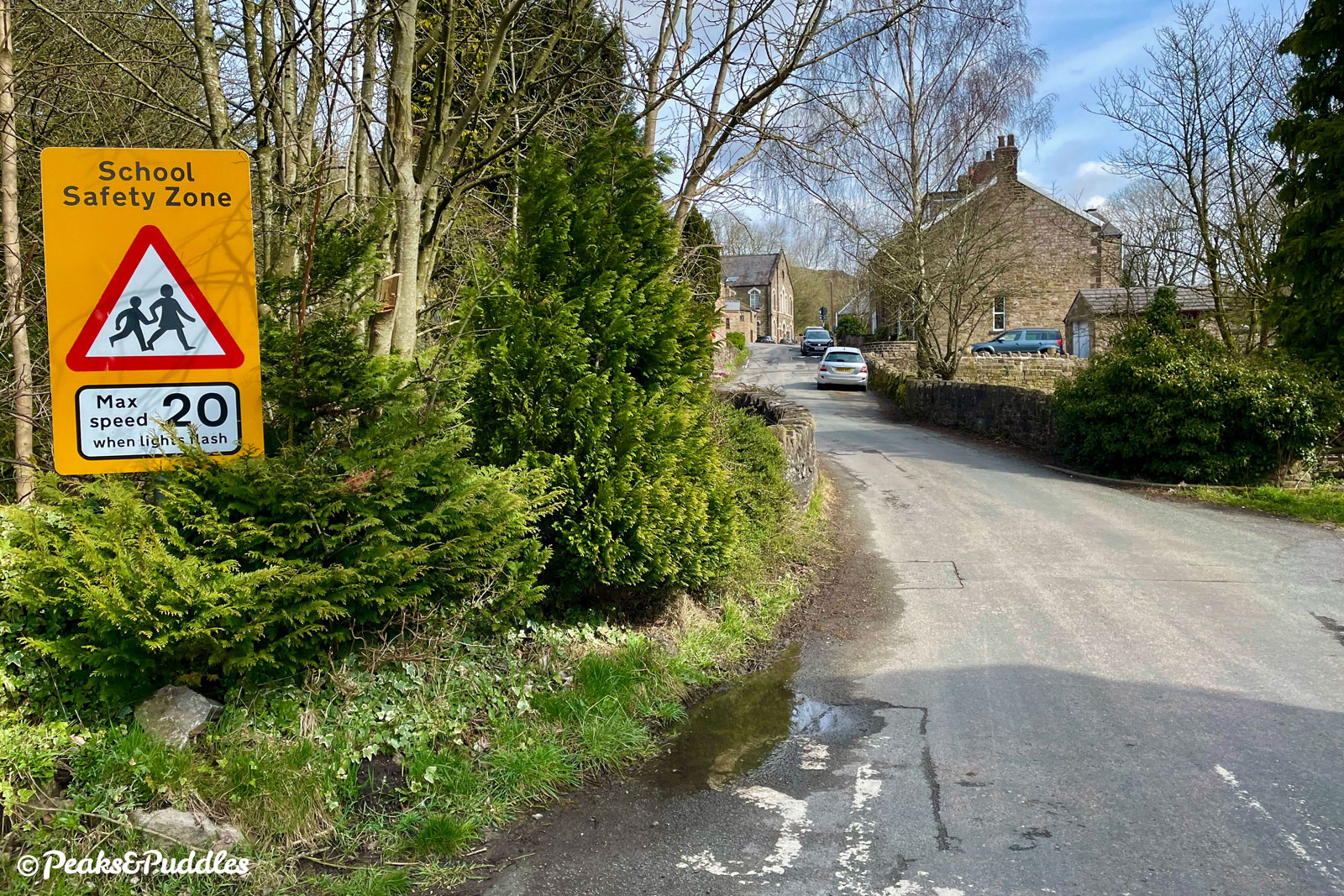 The short climb out of Bugsworth Basin to the generally fairly quiet B6062 New Road.