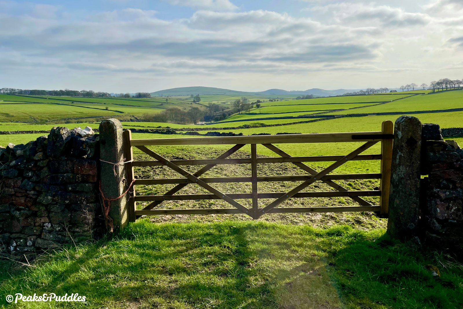 At Hartington Moor Farm, the whipped peaks in the distance mark the Dove Valley in the landscape.