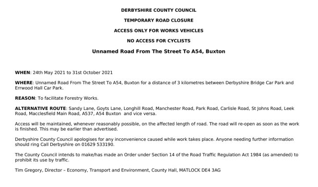 The road closure order published by Derbyshire County Council.