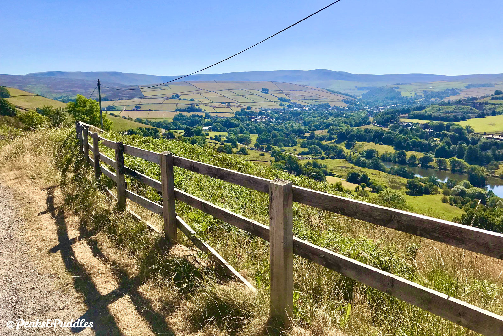 A stunning vista over the Sett Valley from the top of Sitch Lane to Hayfield and Kinder Scout.