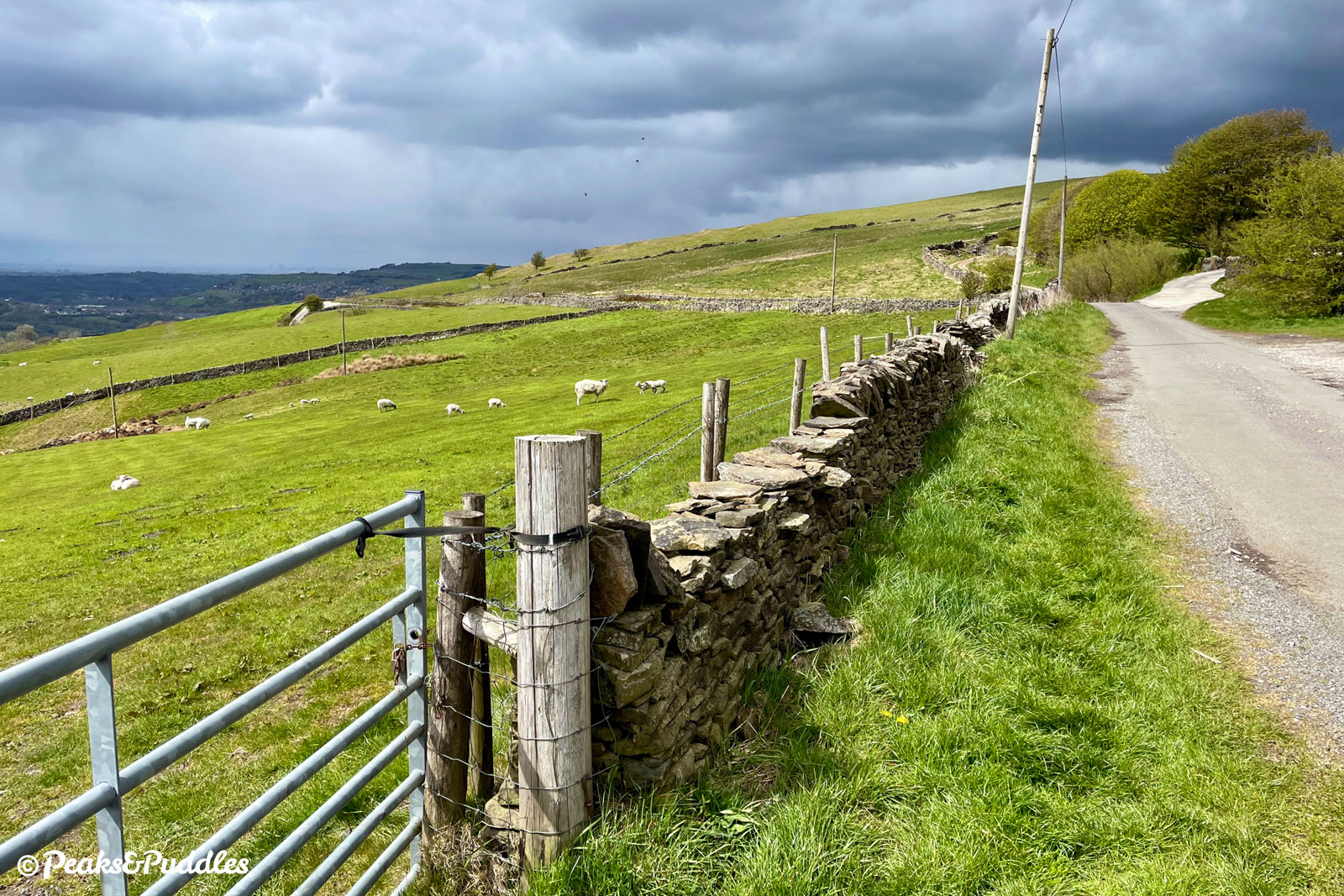 As a bridleway from higher on Chinley Churn joins from the right, the sudden drop back down the hillside can now be seen ahead.