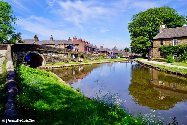 The Peak Forest Canal flows past the first bridge of the Macclesfield Canal at Marple Junction, just a couple of minutes from the town centre.