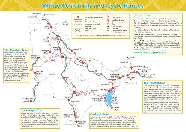 Tissington Trail map and other Peak District cycle trails and routes.