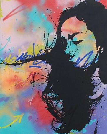 la vagabonde est une peinture streetart par peam's streetartiste et artiste urbain pop art