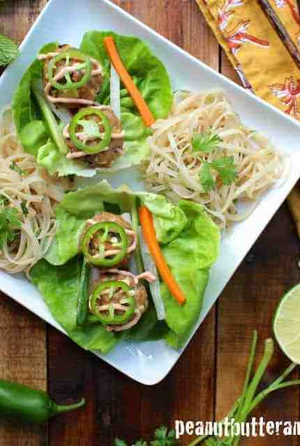 Banh Mi Meatball Lettuce Wraps with Spring Roll Salad