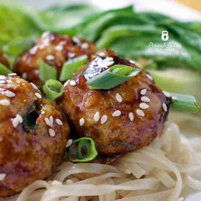 Teriyaki Turkey Meatballs with Bok Choy and Sweet Potato Noodles