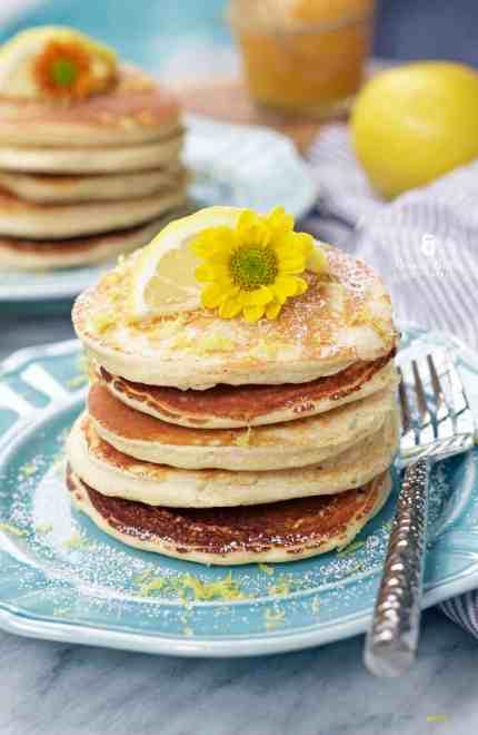 Lemon Ricotta Protein Pancakes