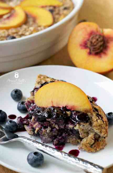 Peach Blueberry Protein Oatmeal Bake