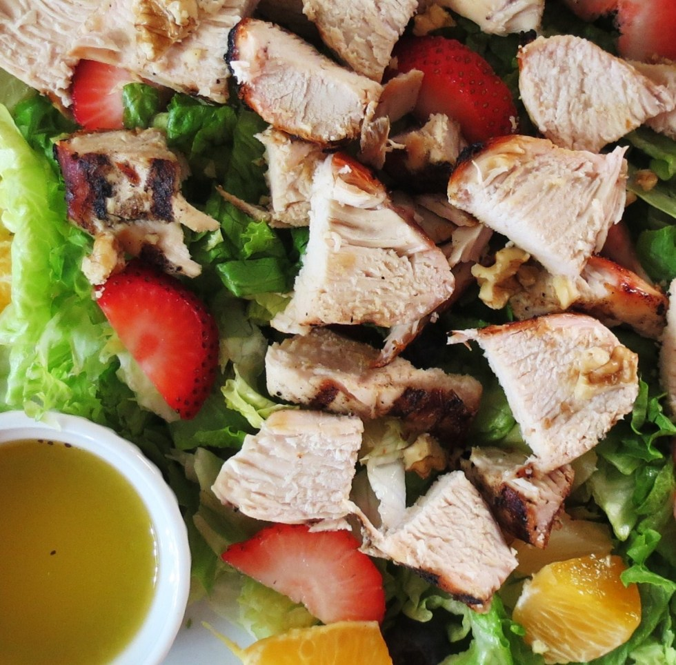 Fruit and Grilled Chicken with Poppy Seed Salad Dressing