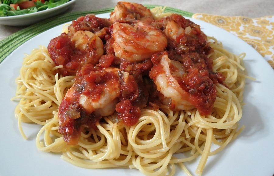 Tomato and Wild Blue Shrimp Pasta