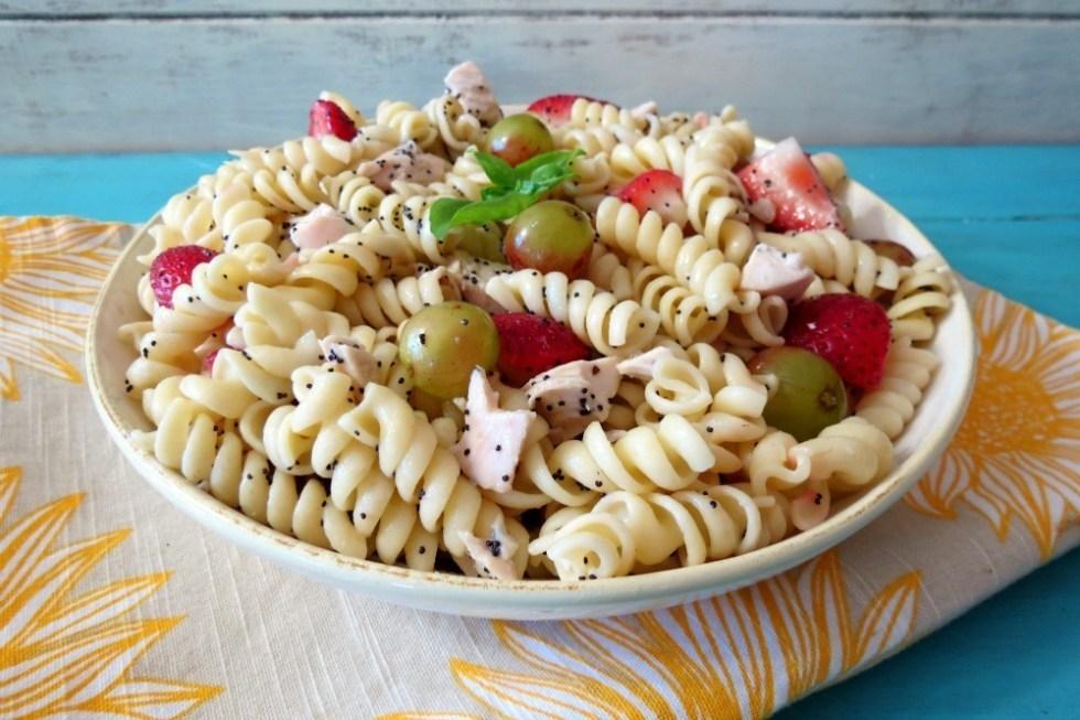Strawberries and Chicken Pasta Salad