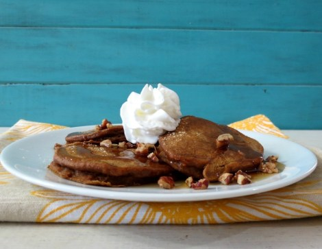 Sweet Potato Pie Pancakes with Bourbon Maple Syrup cc