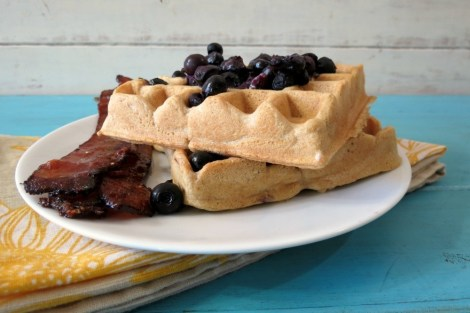 Waffles with Warmed Blueberry Topping