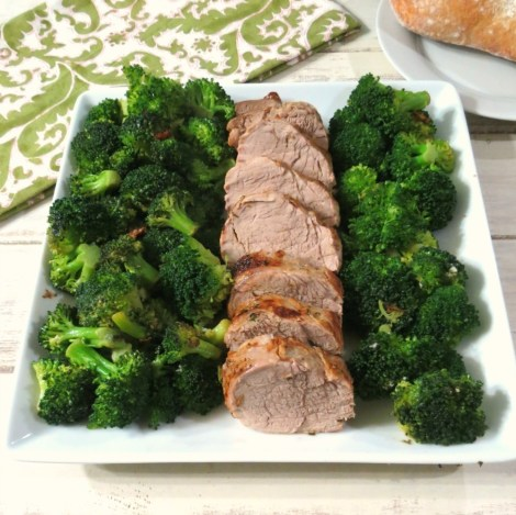 Herb Roasted Pork Tenderloin and Steamed Broccoli