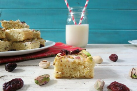 Pistachio and Cranberry Cookie Bars