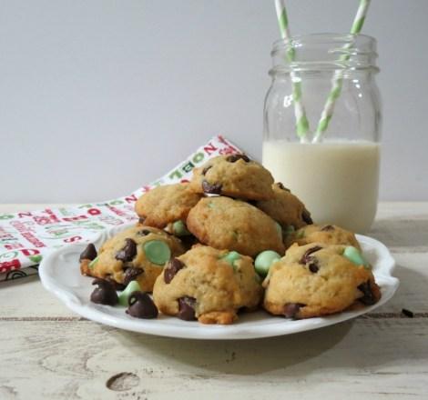 Mint Chocolate Chip Cookies #Healthierholidays
