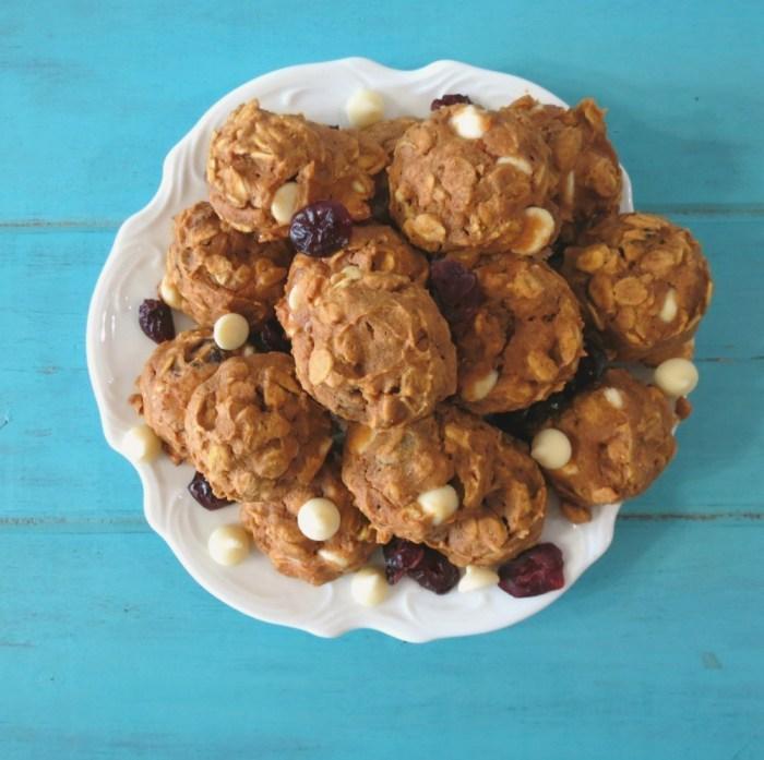 Cranberry, White Chocolate Pumpkin Oatmeal Cookies