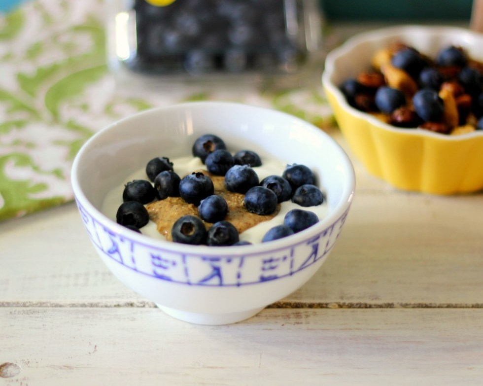 Greek Yogurt with Blueberry's & Almond Butter