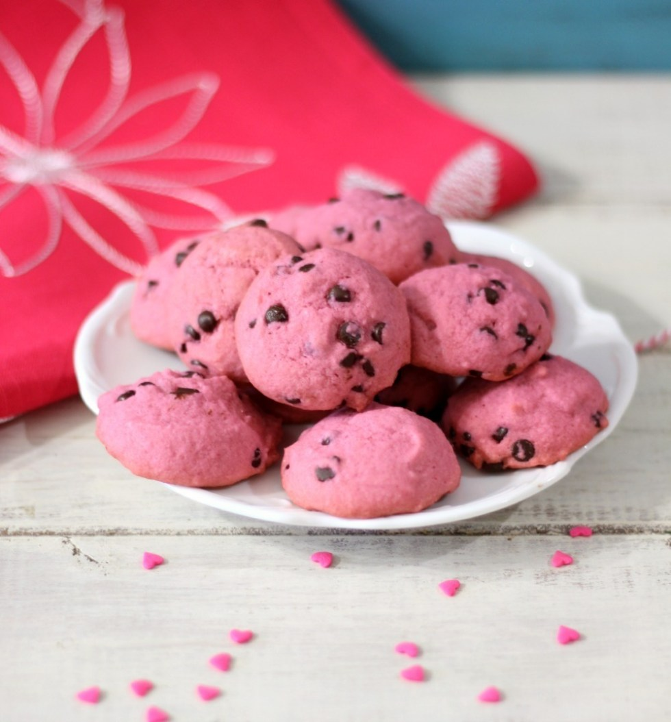 Pink Chocolate Chip Cookies