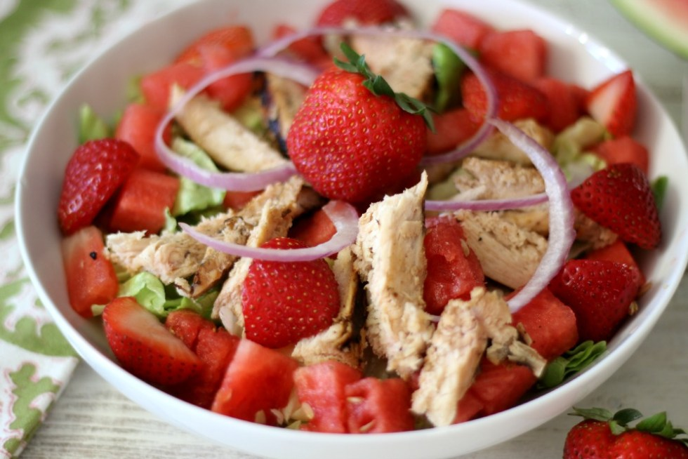 Fresh Watermelon and Chicken Salad #WeekdaySupper #ChooseDreams
