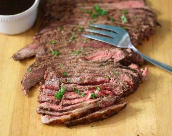 Flank Steak with Spicy Chimichurri Sauce #WeekdaySupper