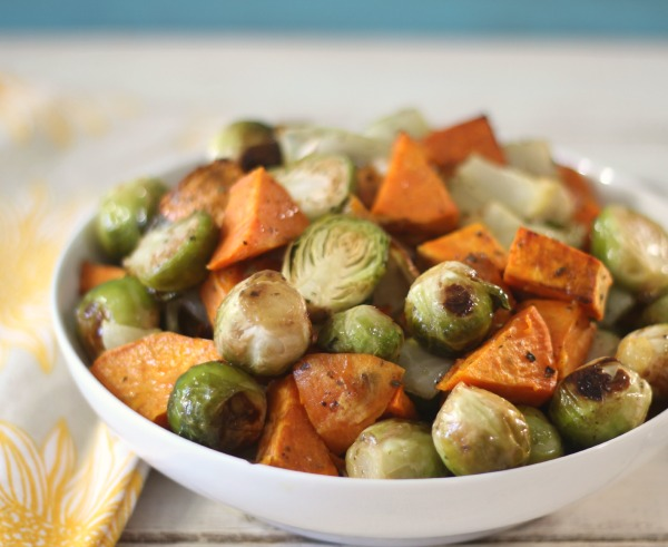 Roasted Sweet Potatoes and Brussels Sprouts #SundaySupper