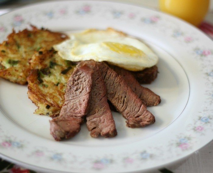 Potato Pancakes with Filet Mignon and Fried Eggs #SundaySupper