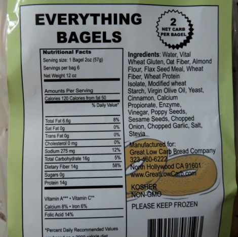 Great Low Carb Bread Company stats for Everything Bagel