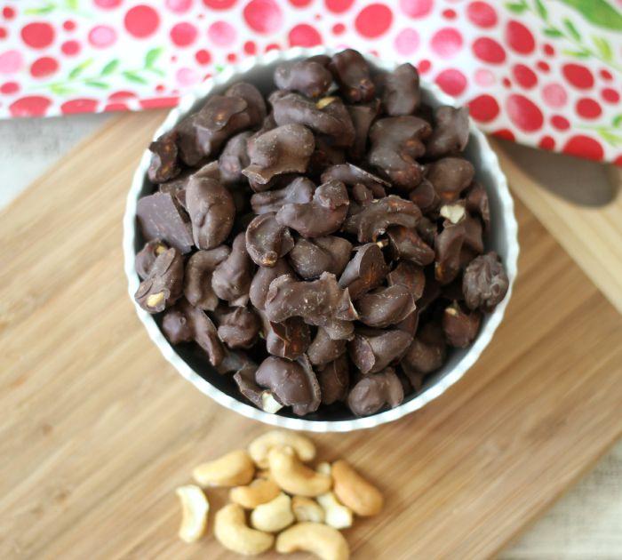 Dark Chocolate Covered Cashews  #SundaySupper