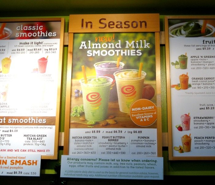 Jamba Juice Almond Milk Smoothies