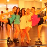 Rollerblades and cleats…in the yoga studio?