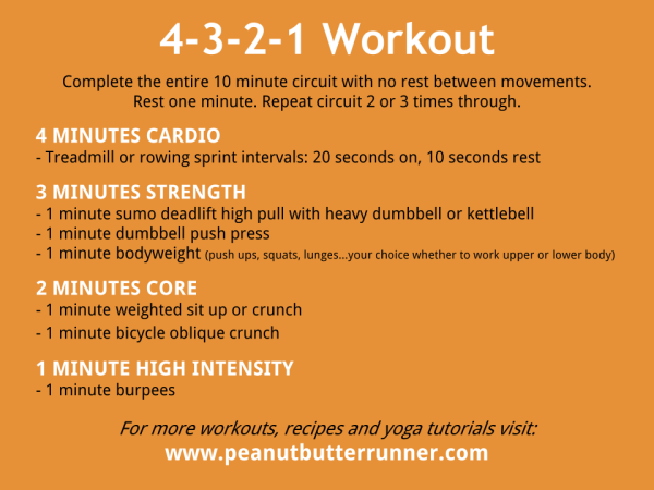 4-3-2-1 Workout featuring cardio, core, strength and HIIT