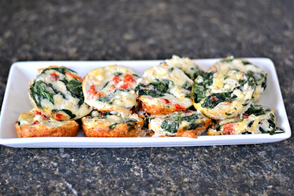 Roasted Red Pepper, Spinach, Artichoke and Feta Egg White Cups