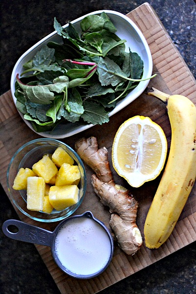 Glowing Green Ginger Power Smoothie Ingredients