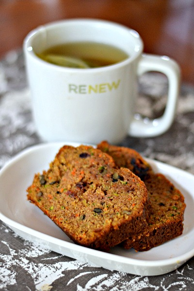 A quick bread packed with tons of cinnamon and nutmeg, carrots, zucchini, orange zest, dried cranberries, walnuts and coconut oil.