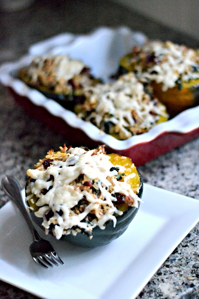 Stuffed Acorn Squash with Brown Rice, Kale, Cranberries and Pecans