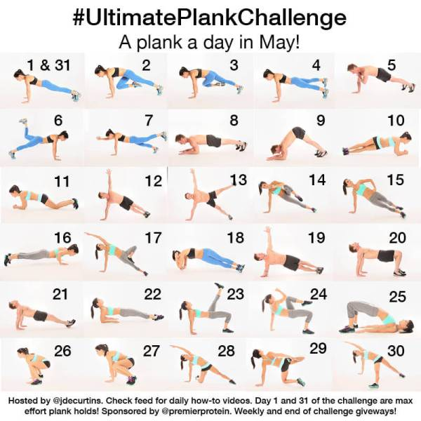 30 Day Ultimate Plank Challenge from Jen at Peanut Butter Runner featuring planks from her book Ultimate Plank Fitness