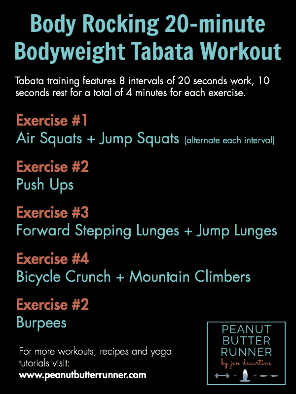 Peanut Butter Runner Body-Rocking 20-Minute At-Home Tabata Workout