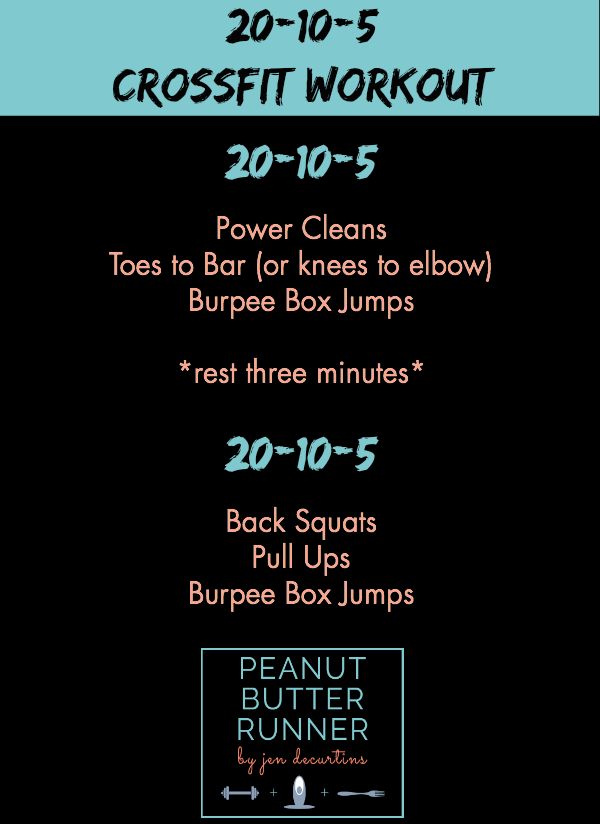 Peanut Butter Runner 20-10-5 CrossFit Workout