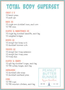 peanut butter runner total body superset workout  peanut