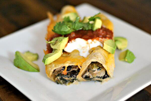 Spinach, Mushroom and Black Bean Enchiladas